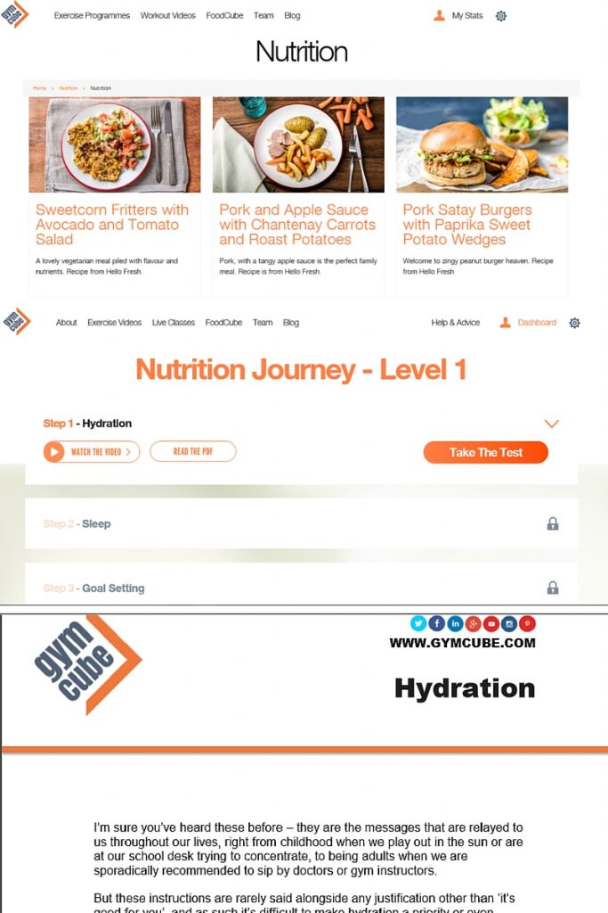 Gymcube Online Workout Progress Nutrition