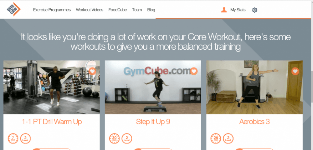 Gymcube Online Workout Progress