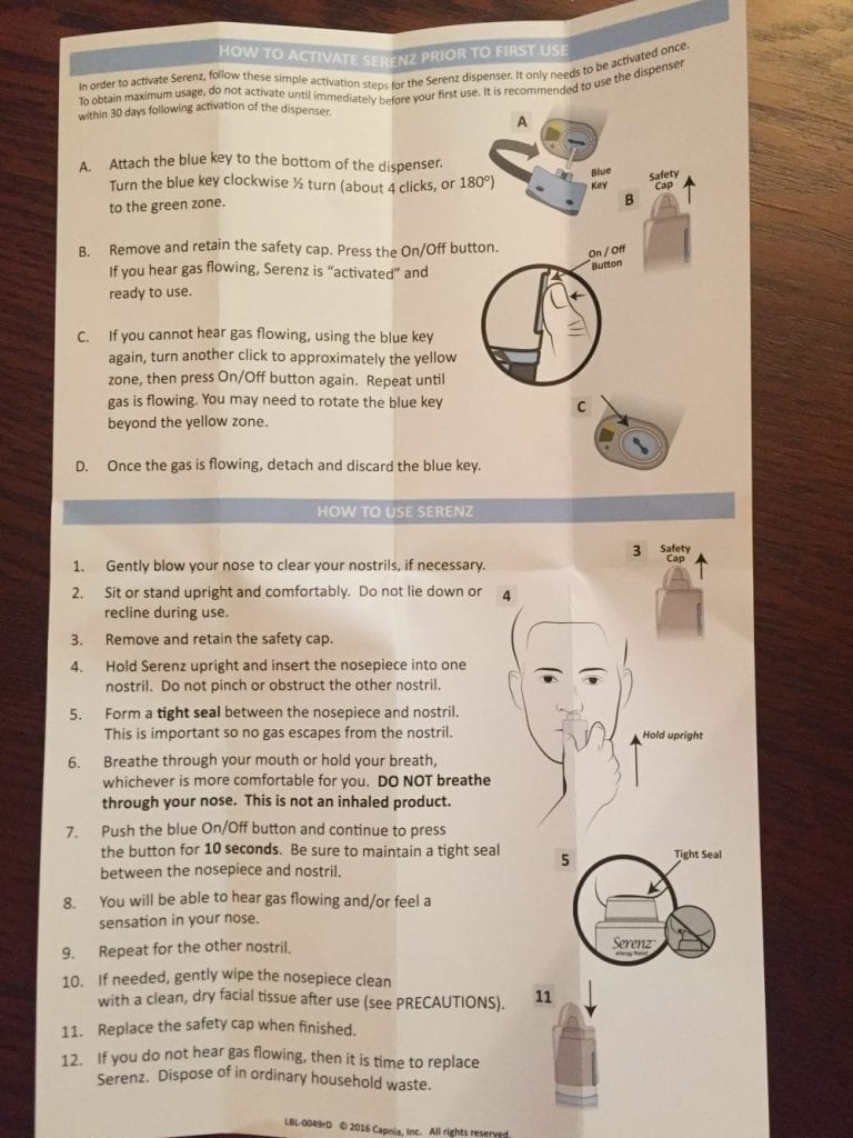 serenz allergy relief instructions