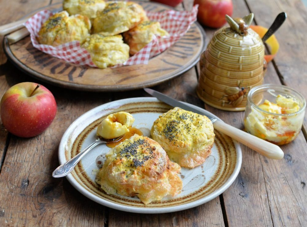 Le Rustique Camembert and Apple Scones with Honey Butter