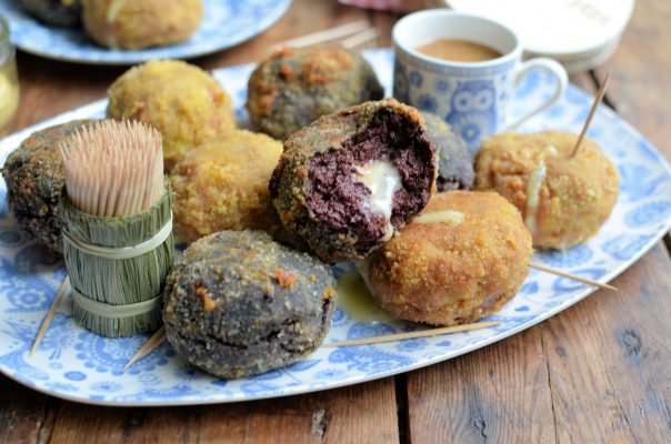 """Le Rustique Camembert """"Scotch Eggs"""" Two Ways with Honey and Mustard Dip"""