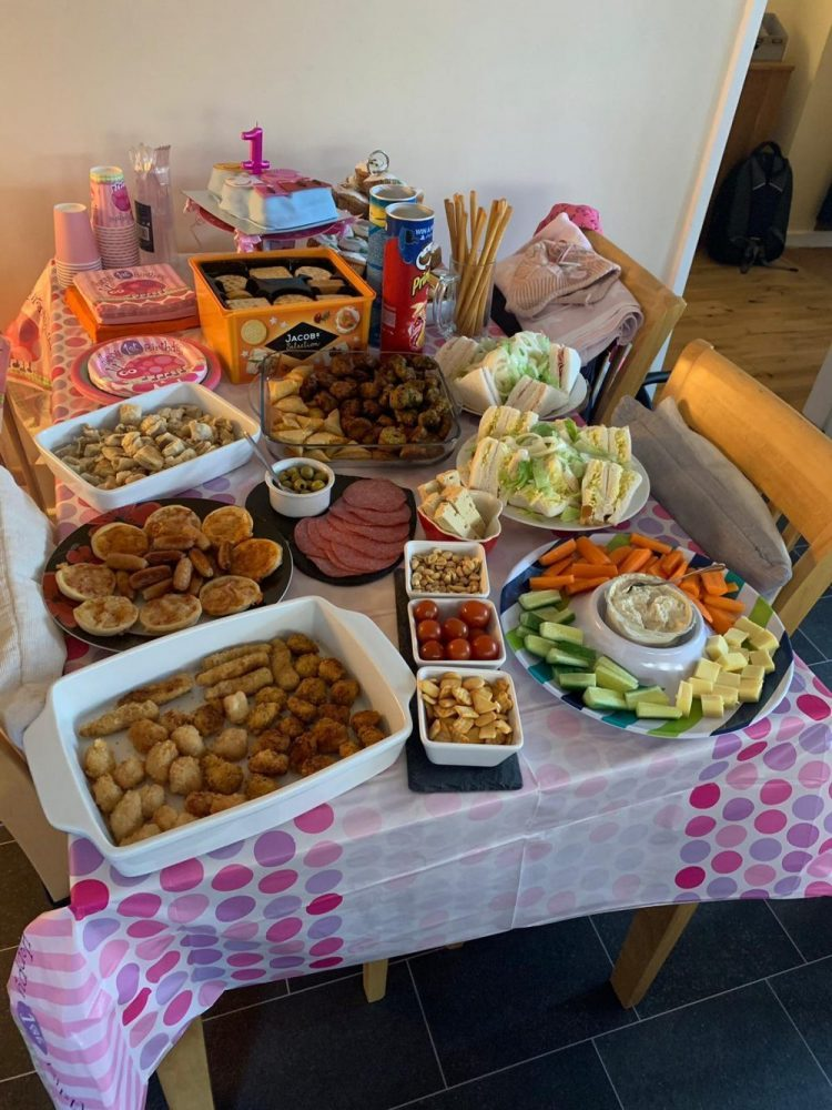 Table full of buffet party food