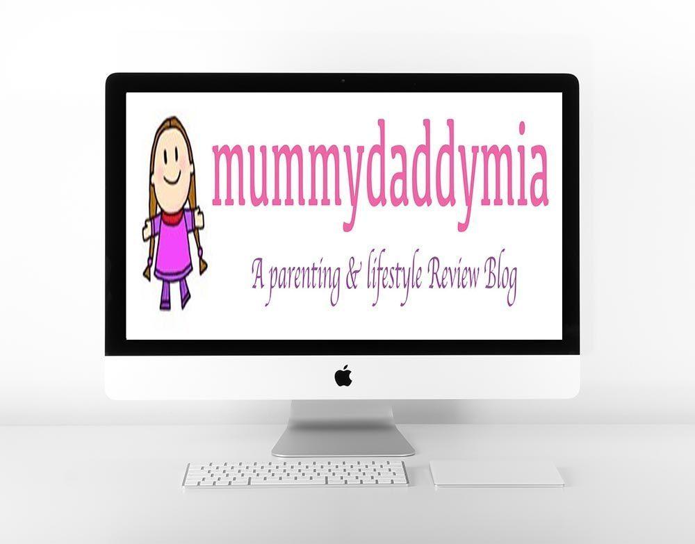 White Mac screen with mummydaddymia logo on it