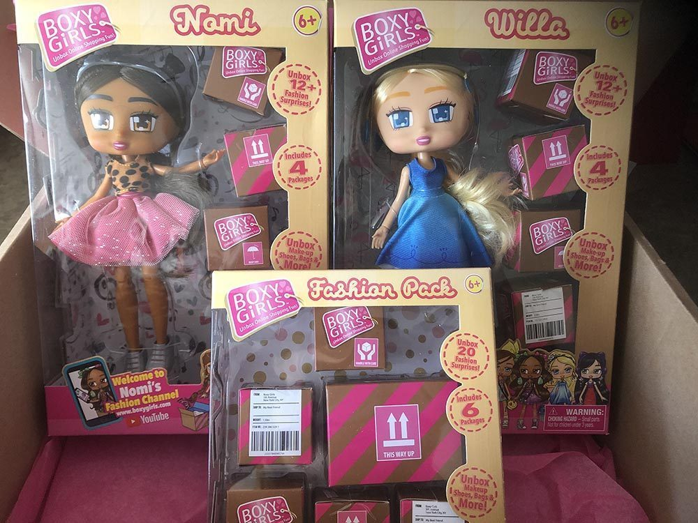 Nomi and Willa Boxy Dolls in their packaging