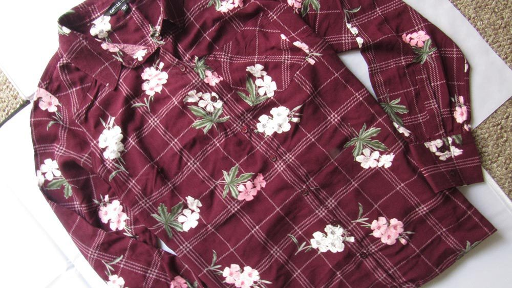 Long sleeved floral shirt dress in maroon