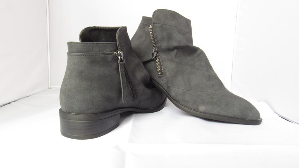 Dark grey slouch ankle boots with double zip