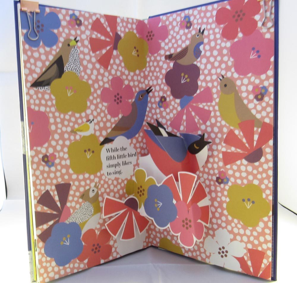 page of colourful flowers and birds cheeping