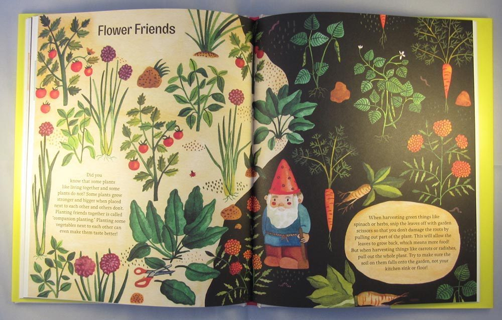 a page of flower facts and a gnome standing in the middle