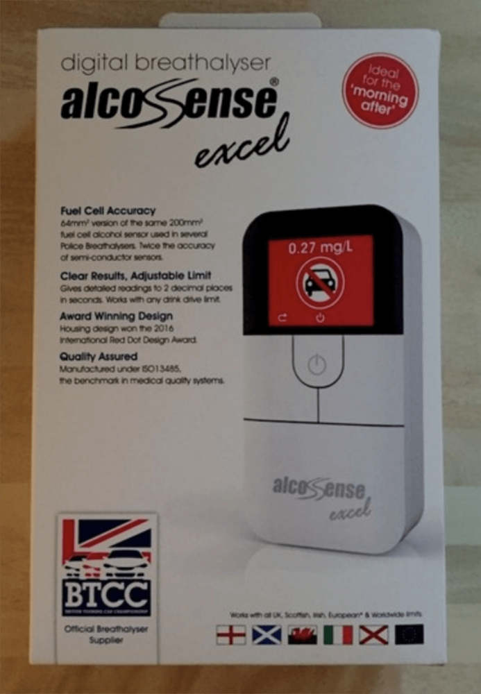 Box of AlcoSense Excel Home Breathalyser