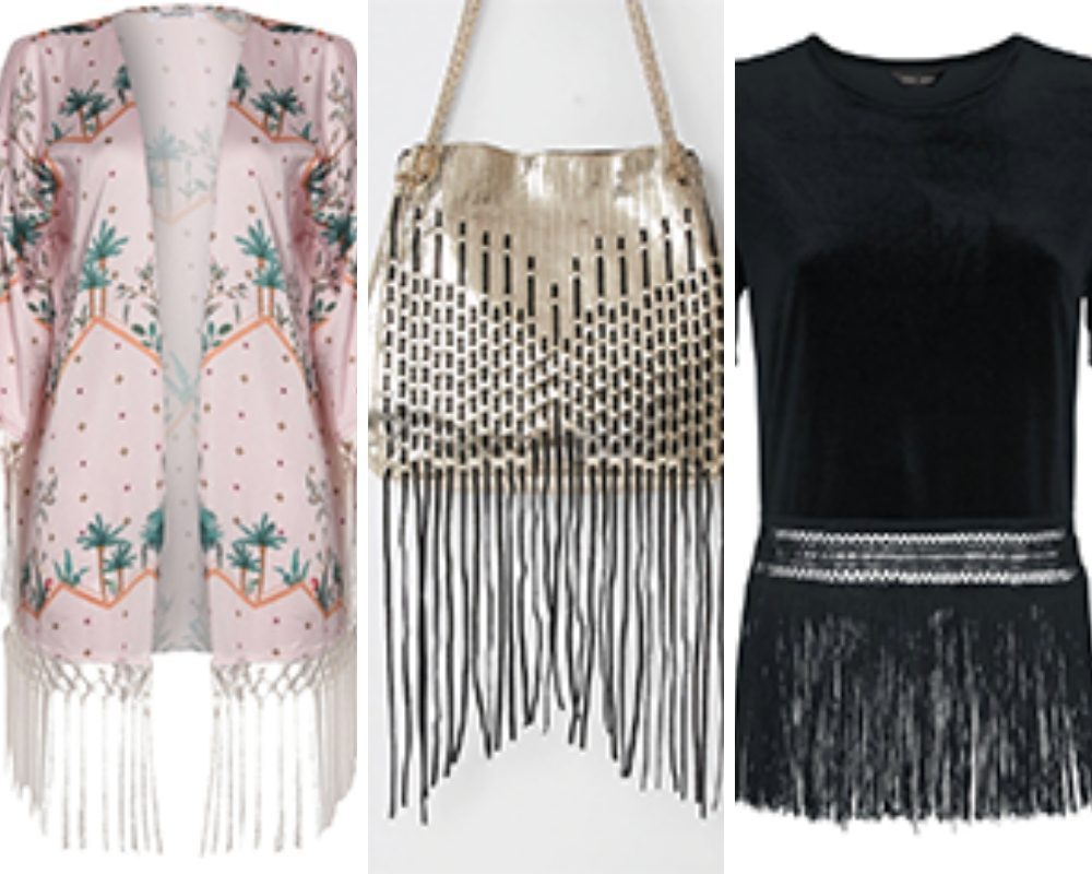 Pink Kimono, Gold Bag and Black Top with fringing