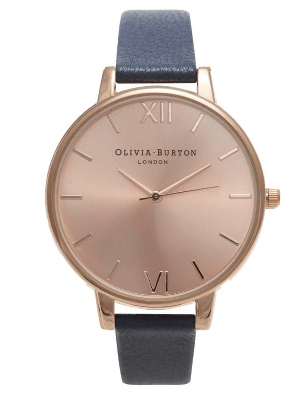 Plain rose gold olivia burton watch face with a navy blue strap