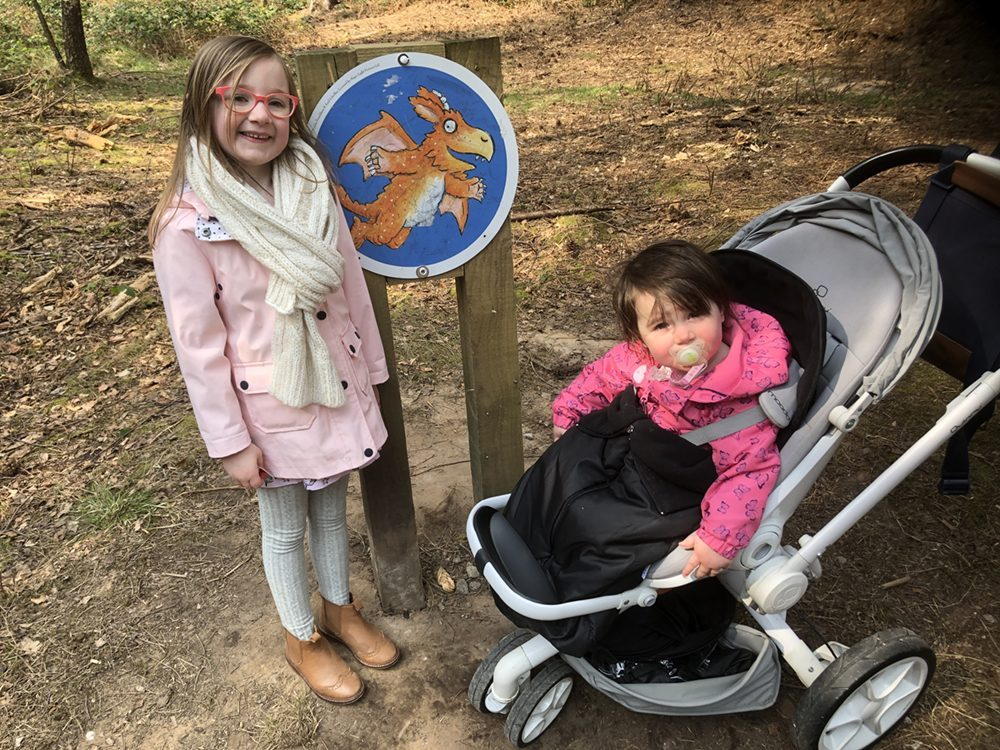 Mia and Lottie with Zog