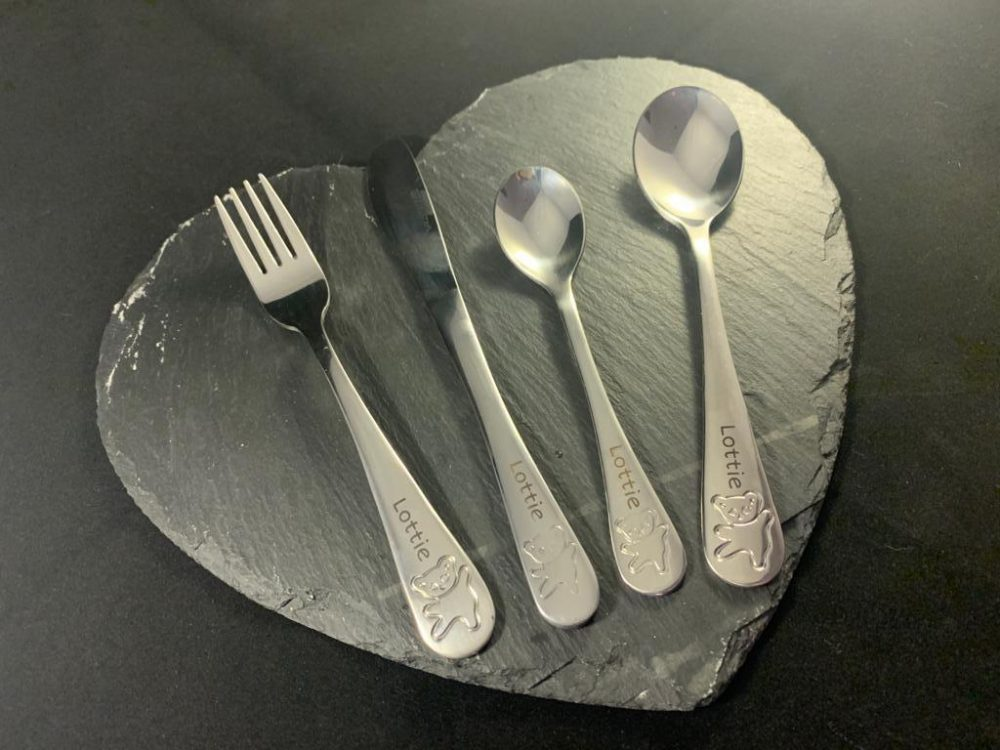 Personalised cutlery set on a heart slate